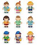 cartoon kid icon set Stock Photo - Royalty-Free, Artist: notkoo2008                    , Code: 400-04389798