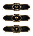 Illustration set black-gold decorative frames - vector Stock Photo - Royalty-Free, Artist: smeagorl                      , Code: 400-04390470