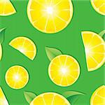 Seamless background with Lemon slices on green background, vector illustration Stock Photo - Royalty-Free, Artist: MarketOlya                    , Code: 400-04390689
