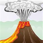 Fuming volcano with fiery lava and big column of smoke, vector illustration Stock Photo - Royalty-Free, Artist: MarketOlya                    , Code: 400-04390691