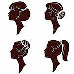 Hairstyles,vector beautiful women and girl silhouettes