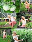 Collage. Beautiful casual woman gardening Stock Photo - Royalty-Free, Artist: smartfoto                     , Code: 400-04390914