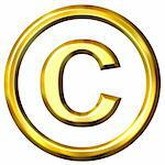 3d golden copyright symbol isolated in white Stock Photo - Royalty-Free, Artist: Georgios                      , Code: 400-04391088