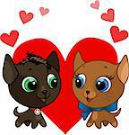 Cute kitten and kitten love vector illustration Stock Photo - Royalty-Free, Artist: Flamewave                     , Code: 400-04391238
