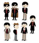 cartoon mafia icon set Stock Photo - Royalty-Free, Artist: notkoo2008                    , Code: 400-04391647