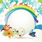Background with lilies, butterfly and drops of water over rainbow Stock Photo - Royalty-Free, Artist: Merlinul                      , Code: 400-04391992