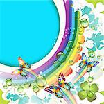 Background with clover and drops of water over rainbow Stock Photo - Royalty-Free, Artist: Merlinul                      , Code: 400-04391997