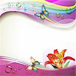 Background with lily, butterflies and drops of water over rainbow Stock Photo - Royalty-Free, Artist: Merlinul                      , Code: 400-04392003
