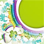 Background with clover and drops of water over rainbow Stock Photo - Royalty-Free, Artist: Merlinul                      , Code: 400-04392004