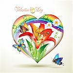 Valentine's day card. Heart with lily and butterflies Stock Photo - Royalty-Free, Artist: Merlinul                      , Code: 400-04392007