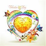 Valentine's day card. Heart with lily and butterflies Stock Photo - Royalty-Free, Artist: Merlinul                      , Code: 400-04392008