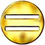 3d golden framed equality symbol isolated in white Stock Photo - Royalty-Free, Artist: Georgios                      , Code: 400-04392745