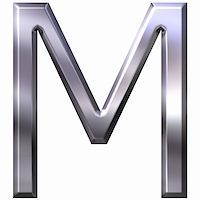 fancy letters - 3d silver letter M isolated in white Stock Photo - Royalty-Freenull, Code: 400-04392790