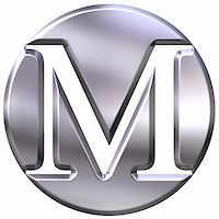 fancy letters - 3d silver letter M isolated in white Stock Photo - Royalty-Freenull, Code: 400-04392791