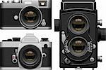 Layered vector illustration of three kinds of old cameras. Stock Photo - Royalty-Free, Artist: tshooter                      , Code: 400-04393052
