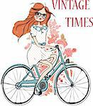 fashion girl with flower and bicycle   illustration sketch drawing penciled vector
