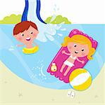 Cute kids in pool with fresh water. Vector Illustration.   Stock Photo - Royalty-Free, Artist: lordalea                      , Code: 400-04393112