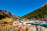 The Rapid Flow of the River Aragon in the Spur of the Pyrenees Mountains Stock Photo - Royalty-Free, Artist: gkuna                         , Code: 400-04393126