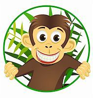 smiling chimpanzee - Chimpanzee cartoon vector Stock Photo - Royalty-Freenull, Code: 400-04393518