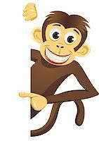 smiling chimpanzee - Chimpanzee cartoon vector Stock Photo - Royalty-Freenull, Code: 400-04393574