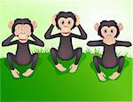 Three wishes monkey, hear no evil, speak no evil, see no evil