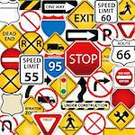 Collage of road and traffic signs Stock Photo - Royalty-Free, Artist: soleilc                       , Code: 400-04395013