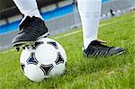 Horizontal image of soccer ball with foot of player touching it Stock Photo - Royalty-Free, Artist: pressmaster                   , Code: 400-04396258