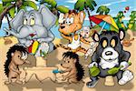 Animals on the Beach - Cartoon Illustration, Bitmap