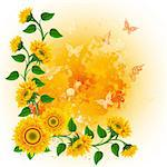 Orange background with sunflowers and  butterflies. Stock Photo - Royalty-Free, Artist: Lep                           , Code: 400-04396788