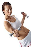 sweaty woman - Image of fit woman doing exercise with barbells in hands Stock Photo - Royalty-Freenull, Code: 400-04397019