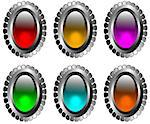 Stock Photo:  silver buttons with a glass eye for web pages Stock Photo - Royalty-Free, Artist: bruniewska                    , Code: 400-04397373