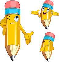 Pencil Character Different facial expressions Stock Photo - Royalty-Freenull, Code: 400-04397647