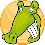 cartoon illustration of funny crocodile Stock Photo - Royalty-Free, Artist: izakowski                     , Code: 400-04398745