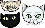 Three hand-drawn cat head portrait illustrations isolated on a white background Stock Photo - Royalty-Free, Artist: theblackrhino                 , Code: 400-04398801