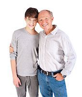 Teenager and grandfather isolated on white background. Stock Photo - Royalty-Freenull, Code: 400-04398991