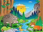 Forest scene with various animals 3 - vector illustration.