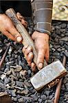 Detail of dirty hands holding hammer - blacksmith Stock Photo - Royalty-Free, Artist: brozova                       , Code: 400-04399263
