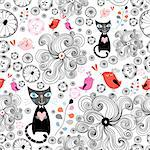 seamless graphic pattern with birds and cats in love on a white background Stock Photo - Royalty-Free, Artist: tanor                         , Code: 400-04399439