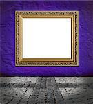 old  elegant golden frame on red plaster rough background and vintage stone pavement  foreground Stock Photo - Royalty-Free, Artist: mrVitkin                      , Code: 400-04399594