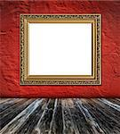 old  elegant golden frame on red plaster rough background and vintage wooden planks  foreground Stock Photo - Royalty-Free, Artist: mrVitkin                      , Code: 400-04399611