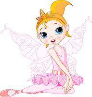 Illustration of Little Cute sitting Fairy Ballerina Stock Photo - Royalty-Freenull, Code: 400-04401119