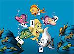 Fish and Numbers - Cartoon Background Illustration, Bitmap