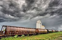 Prairie Grain Elevator in Saskatchewan Canada with storm clouds Stock Photo - Royalty-Freenull, Code: 400-04402397