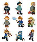 cartoon Fireman icon set   Stock Photo - Royalty-Free, Artist: notkoo2008                    , Code: 400-04402435