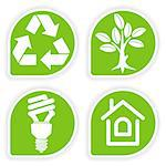 Collect sticker with environment icon, tree, leaf, light bulb and Recycling Symbol, vector illustration Stock Photo - Royalty-Free, Artist: TAlex                         , Code: 400-04402562