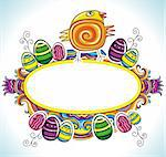 Holiday Easter Frame with white space for your text:Cute funny Easter chick, colorful painted easter eggs. Floral elements like flowers and plants to celebrate Spring
