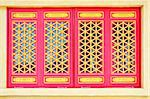 Chinese traditional windows at Chinese temple in Thailand.