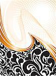 abstract background with black ornaments and orange waves Stock Photo - Royalty-Free, Artist: Oksvik                        , Code: 400-04403485