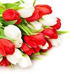 beautiful bouquet of  tulips on white Stock Photo - Royalty-Free, Artist: loskutnikov                   , Code: 400-04403496