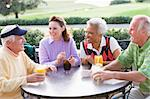 Friends Enjoying A Beverage By A Golf Course Stock Photo - Royalty-Free, Artist: MonkeyBusinessImages          , Code: 400-04404249